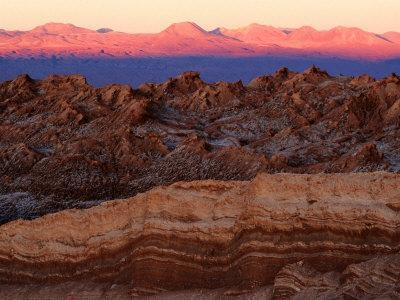 Valley of the Moon and Andes Mountains at Sunset, San Pedro De Atacama, Chile