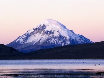 Volcan Sajama Above Lago Chungara at Sunset, Lauca National Park, Chile
