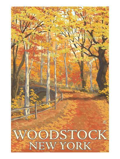 Woodstock, New York - Fall Colors Scene-Lantern Press-Art Print