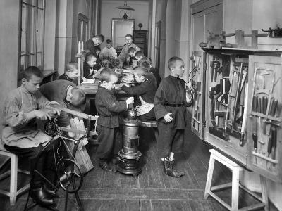 Woodwork Class at a Primary School in St. Petersburg--Photographic Print