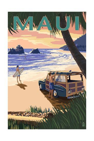 Woody and Beach - Maui, Hawaii-Lantern Press-Art Print