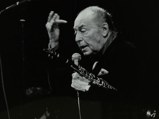 Woody Herman on Stage at the Forum Theatre, Hatfield, Hertfordshire, 24 May 1983-Denis Williams-Photographic Print