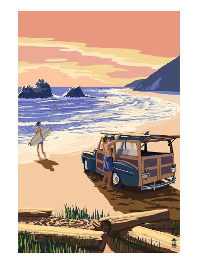 Woody on Beach-Lantern Press-Art Print