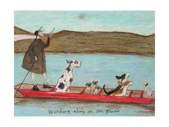 Woofing along on the River-Sam Toft-Premium Giclee Print