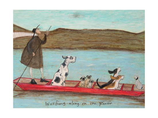 Woofing along on the River-Sam Toft-Art Print