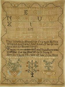 Wool Linen and Silk Purse Sampler. New England, 18th Century