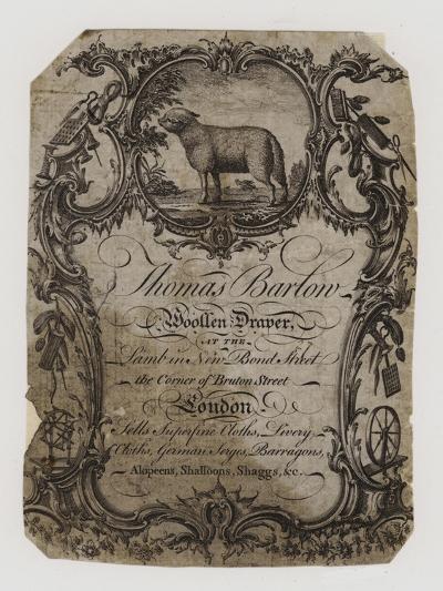 Woolen Drapers, Thomas Barton, Trade Card--Giclee Print