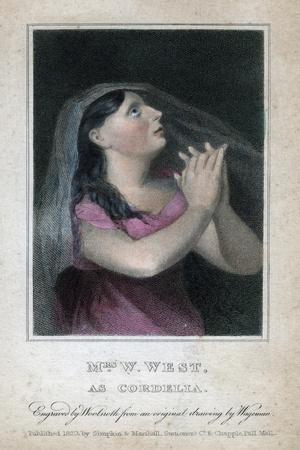 Mrs W West as Cordelia, 1820