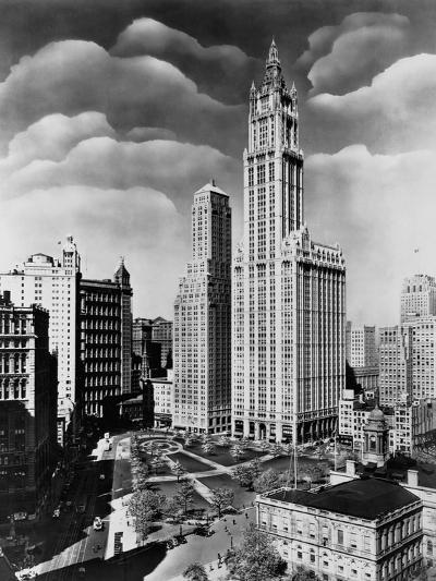 Woolworth Building and City Hall Park, Manhattan--Photographic Print