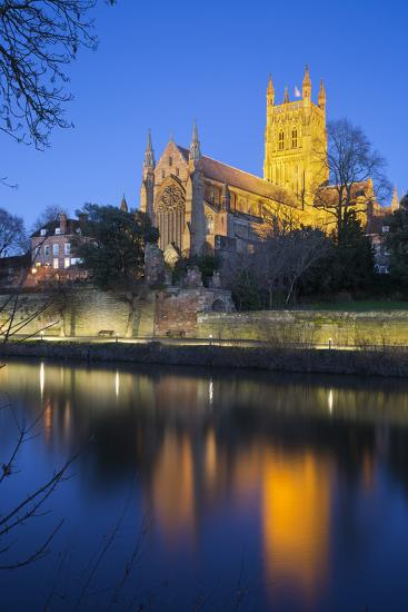 Worcester Cathedral on the River Severn Floodlit at Dusk, Worcester, Worcestershire, England, UK-Stuart Black-Photographic Print