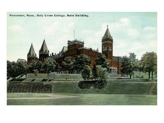 Worcester, Massachusetts - Exterior View of Holy Cross College Main Building, c.1908-Lantern Press-Art Print