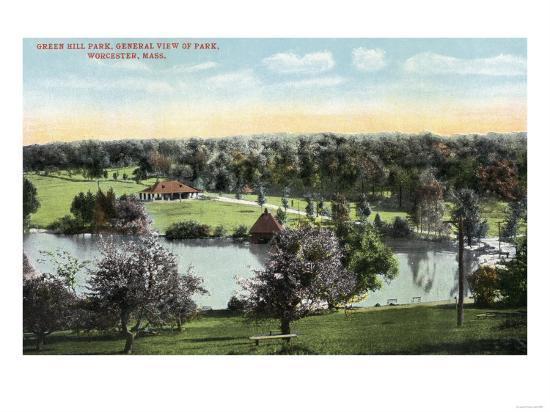 Worcester, Massachusetts - View of Green Hill Park-Lantern Press-Art Print