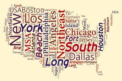 Word Cloud Of Usa Map- masuti-Art Print