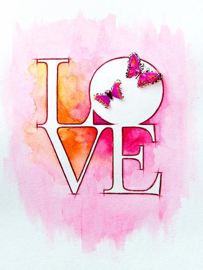 Word LOVE over Abstract Watercolor Painting and Two Butterflies-Alex Tihonov-Art Print