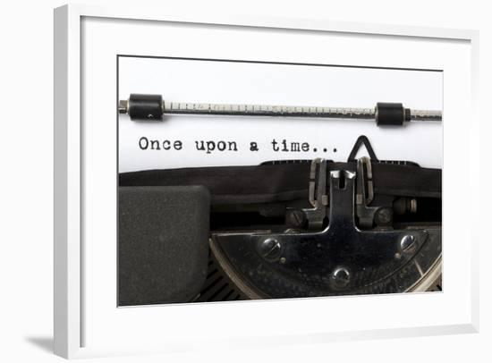 """Words """"Once Upon A Time"""" Written With Old Typewriter-foodbytes-Framed Art Print"""