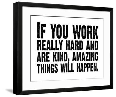 Work Hard (White & Black)-Kyle & Courtney Harmon-Framed Serigraph
