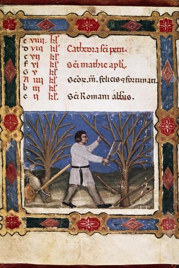 Work in the Fields, Miniature from Opificium Beatae Mariae Virginis, Latin Manuscript--Giclee Print