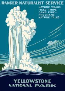 Yellowstone National Park - Old Faithful Geyser - Ranger Naturalist Service by Work Projects Administration (WPA)