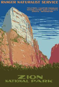 Zion National Park - Great White Throne Mountain - Ranger Naturalist Service by Work Projects Administration (WPA)