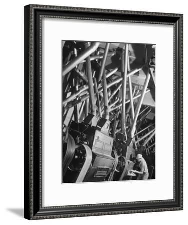 Worker Checking Quality Control at Flour Mill-Margaret Bourke-White-Framed Premium Photographic Print