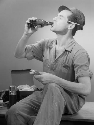 Worker Eating Lunch-George Marks-Photographic Print