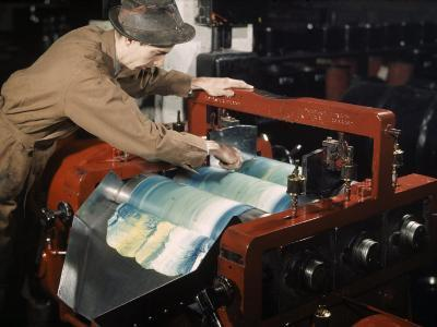 Worker Keeps Ink Flowing Smoothly with a Spatula-B^ Anthony Stewart-Photographic Print