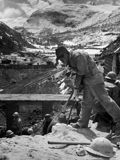 Worker Using a Jack Hammer to Help Build the Dam for the Eca-Sponsored Hydro-Electric Projects-Dmitri Kessel-Photographic Print