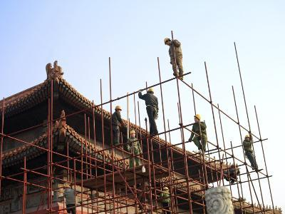 Workers Climb Scaffolding on the Palace Roof in the Forbidden City-xPacifica-Photographic Print