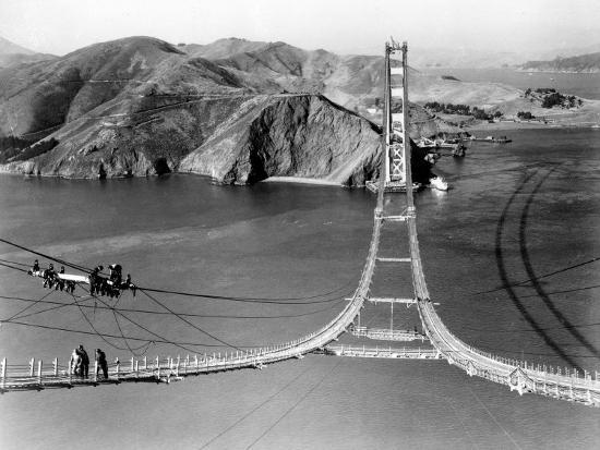 Workers Complete the Catwalks for the Golden Gate Bridge--Photographic Print