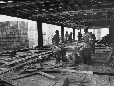 Workers During Construction of Seagrams Building-Frank Scherschel-Photographic Print