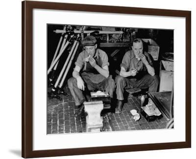 Workers Eating in a Ford Motor Company Plant--Framed Photographic Print