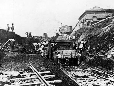 Workers Excavating Site of Northern Railway--Photographic Print