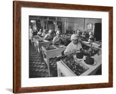 Workers in Astrakhan Factory Canning and Weighing Caviar-Carl Mydans-Framed Photographic Print