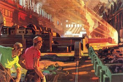 Workers in Steel Mill--Art Print