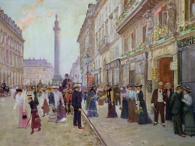 Workers Leaving the Maison Paquin, in the Rue de La Paix, circa 1900-Jean B?raud-Giclee Print