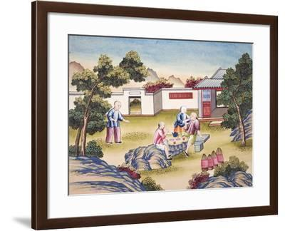 """Workers Meal Time, from """"The Process of Manufacturing Silk in 24 Stages""""--Framed Giclee Print"""
