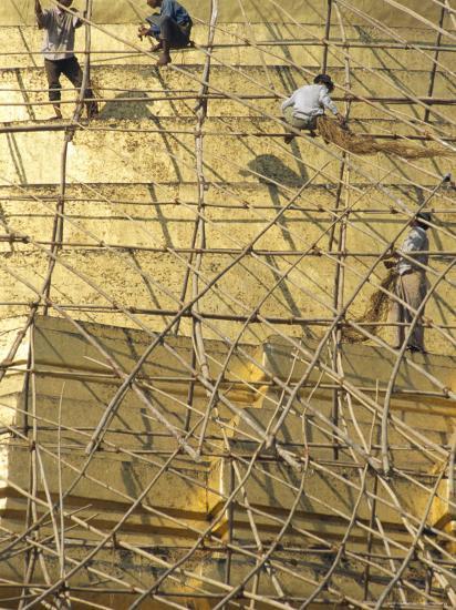 Workers on Bamboo Scaffolding Applying Fresh Gold Leaf to the Shwedagon Pagoda, Yangon, Myanmar-Upperhall-Photographic Print