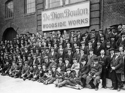 Workers Outside the British De Dion Bouton Works, Early 1920S--Photographic Print