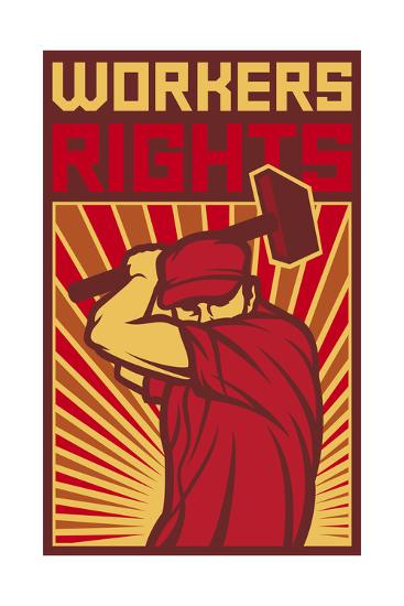 Workers Rights Poster-tribaliumbs-Art Print
