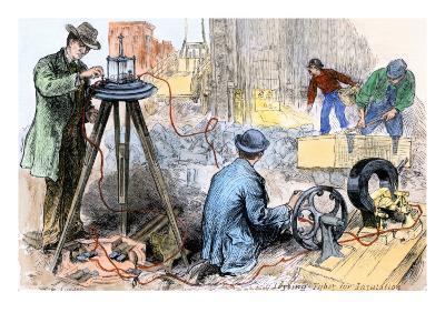 Workers Testing the Insulation of Electric Wires Going in the Streets of New York City, 1882--Giclee Print