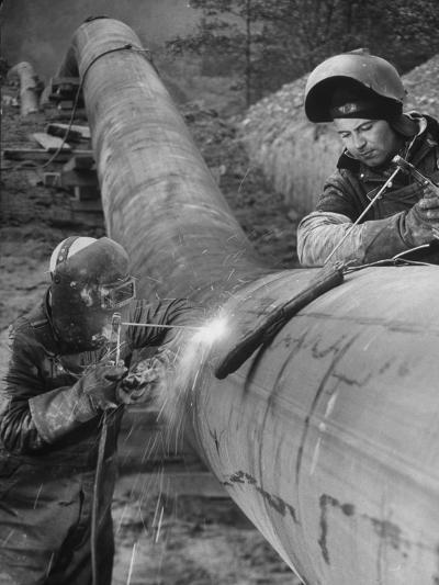 Workers Welding Pipeline to Be Used for Natural Gas--Photographic Print