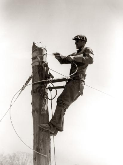 Working Atop Utility Pole-H^ Armstrong Roberts-Photographic Print