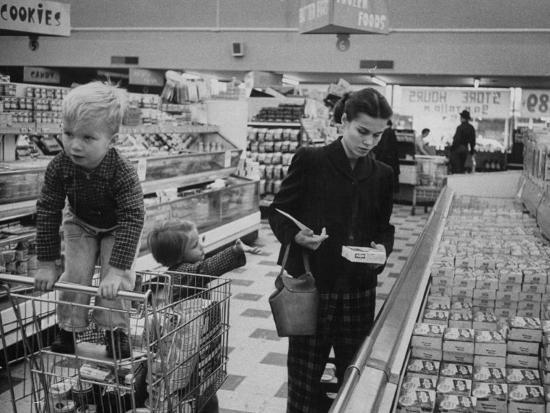 Working Mother Jennie Magill Shopping with Her Children at the Super Market--Photographic Print