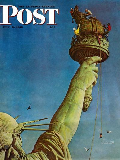 """""""Working on the Statue of Liberty"""" Saturday Evening Post Cover, July 6,1946-Norman Rockwell-Giclee Print"""