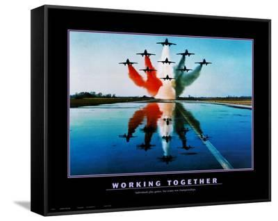 Working Together--Framed Canvas Print