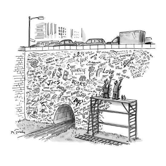 Workmen on scaffolding adding graffiti to a bridge. - New Yorker Cartoon-Mike Twohy-Premium Giclee Print
