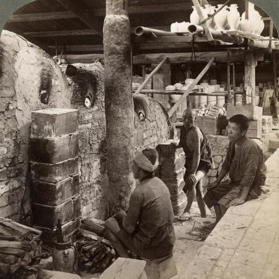 Workmen Watching Kilns Full of Awata Porcelain, Kinkosan Works, Kyoto, Japan, 1904-Underwood & Underwood-Photographic Print