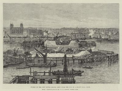 Works of the New Tower Bridge, Seen from the Top of a Shaft 100Ft High-Frank Watkins-Giclee Print