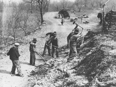 Works Progress Administration (Wpa) Workers Build a New Farm-To-Market Road--Photographic Print