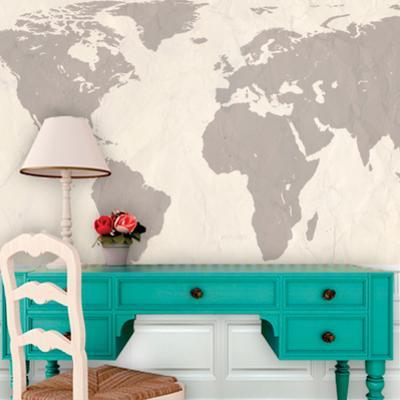 World Atlas Map - Cream Self-Adhesive Wallpaper